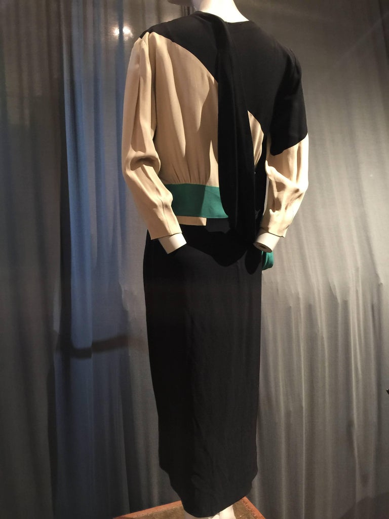 1940s Iconic Adrian Original Cubist-Inspired Dress in Green Gray and Black Drape 2