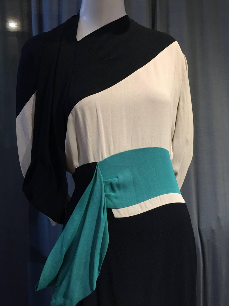 1940s Iconic Adrian Original Cubist-Inspired Dress in Green Gray and Black Drape 4