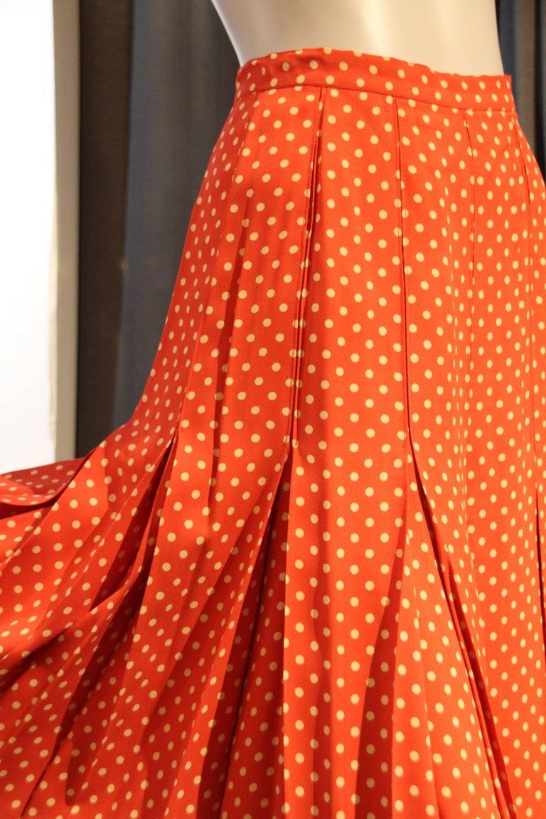 Red 1970s Saint Laurent Box Pleated Orange and White Polka Dot Crepe Skirt For Sale