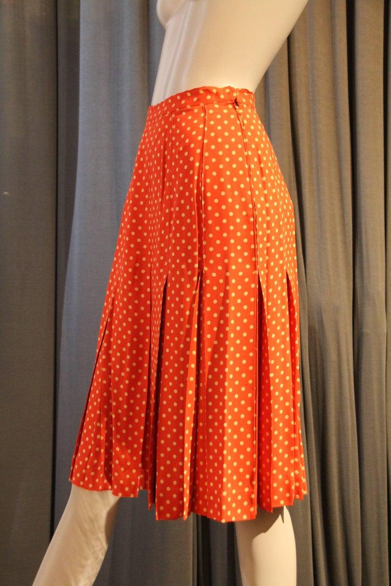 Women's 1970s Saint Laurent Box Pleated Orange and White Polka Dot Crepe Skirt For Sale