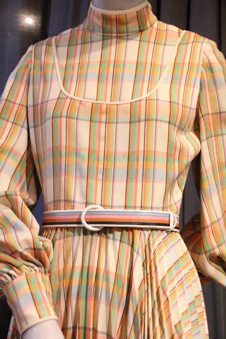 1960s James Galanos Wool Challis Pastel Plaid Dress W Full