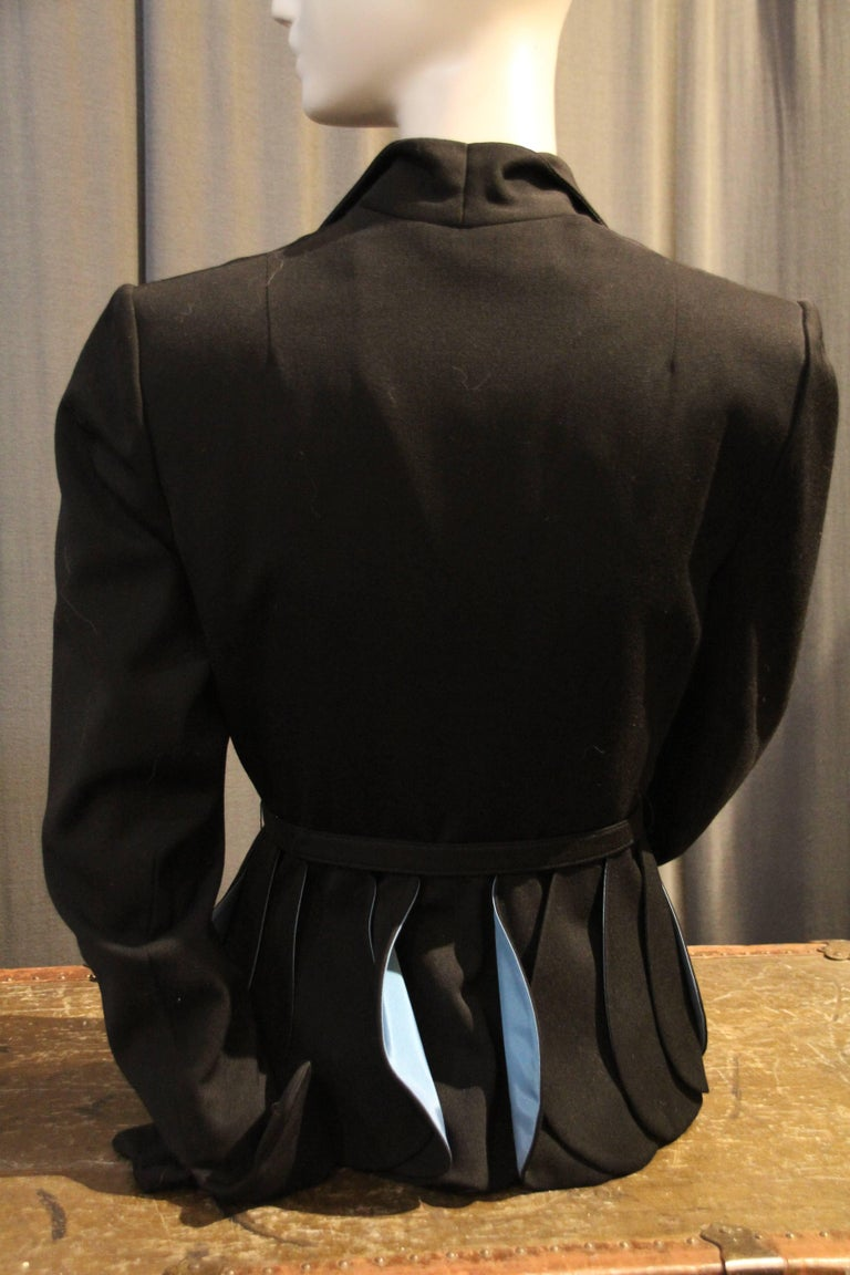 1950s Lilli Ann Black Gabardine Jacket w Blue Lined