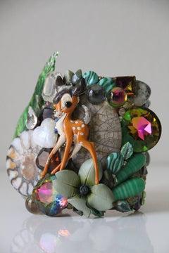 "1980s Rare Wendy Gell ""Wristlet"" Cuff w Whimsical Bambi Figure"