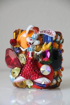 "1980s Rare Wendy Gell ""Wristlet"" Cuff w Whimsical Roger Rabbit Figure"