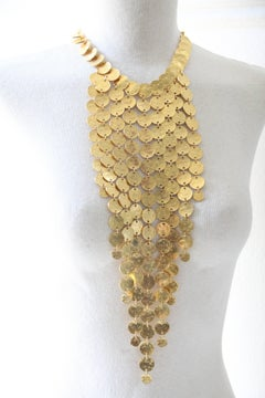 1970s Kenneth Jay Lane 22kt Gold-Washed Hammered Coin Waterfall Bib Necklace