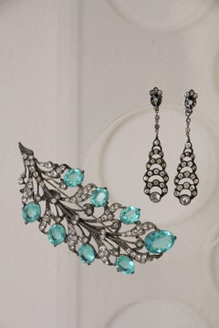 1930s Aquamarine Rhinestone Feather / Leaf Brooch w Matching Dangle Earrings