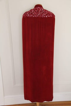 1930s Crimson Velvet Couture Cape w Trapunto Stitched and Sequined Shoulders