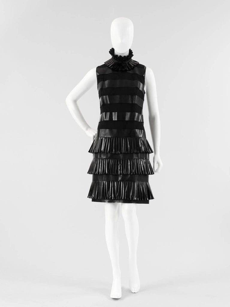 1987 Chanel Deconstructed Autumn/Winter Fetishistic Black Vinyl Cocktail Dress 9