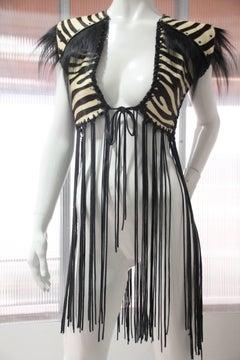 1970s Style Zebra Stenciled Calf Skin Vest w Leather Cord Fringe