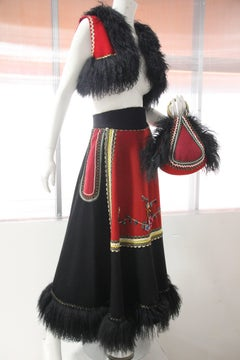 3-Piece Wool Felt Peasant-Inspired Ensemble w Mongolian Fur Trim