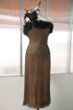 1950s Nude on Black Chiffon Strapless Cocktail Dress w Feather Flourish