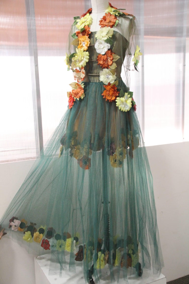 1950s Moss Green Tulle Gown Ensemble W Multi Color Silk Flower