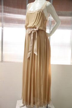 1970s Negligee in Dusty Rose Silk Chiffon with Lace Straps and Ribbon Tie