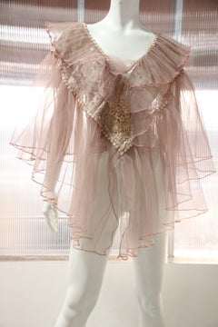 1950s Pleated Tulle and Lace Bed Jacket-Style Confection