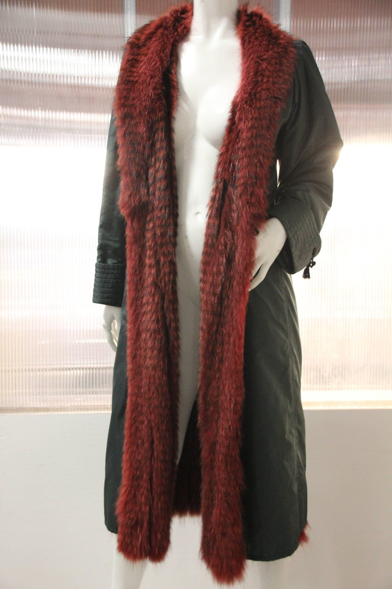Women's 1970s Emanuel Ungaro Forest Green Silk Duster Coat w Red Feathered Fox Lining For Sale