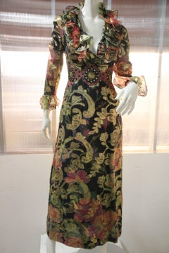 1960s Mr. Frank Paisley and Gold Lame Maxi Dress w Ruffles and Leather Detail