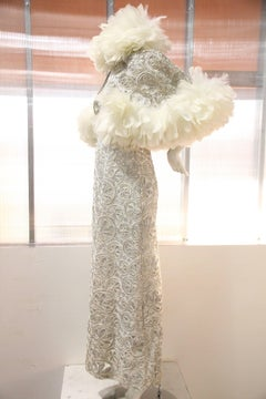 1960s Silver Couched Lace Halter Gown w Caplet Trimmed in White Turkey Feathers