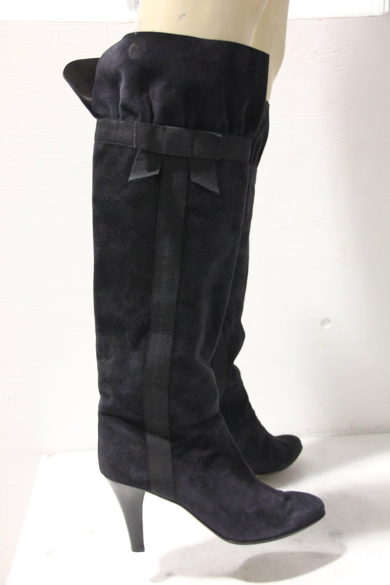 1970's Yves Saint Laurent Black Suede Boots W/ Bow Ribbon Details In Excellent Condition For Sale In San Francisco, CA