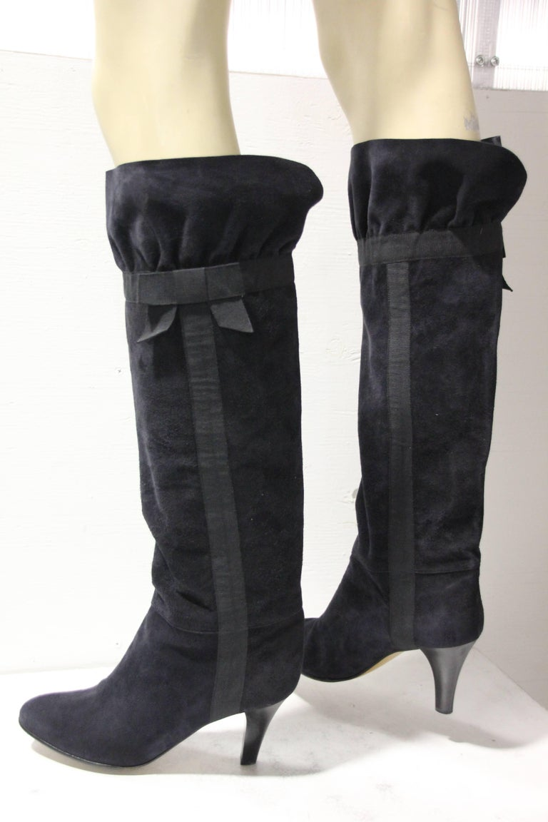 Women's 1970's Yves Saint Laurent Black Suede Boots W/ Bow Ribbon Details For Sale