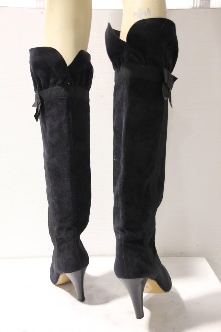 1970's Yves Saint Laurent Black Suede Boots W/ Bow Ribbon Details For Sale 1