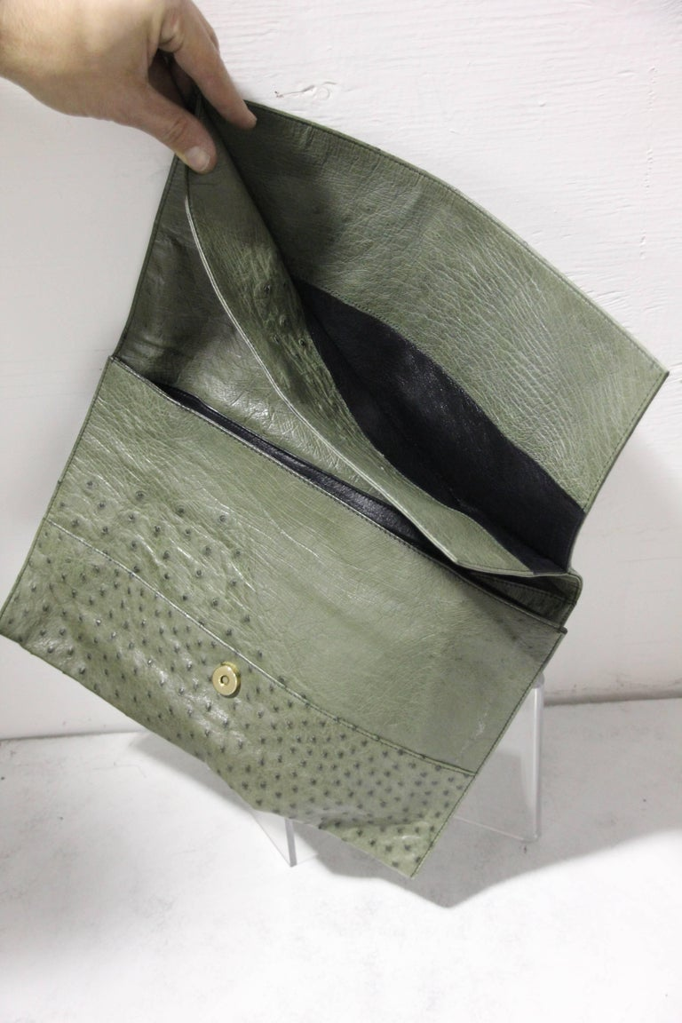 Loewe Moss Green Ostrich Leather Envelope Clutch, 1970s  For Sale 3