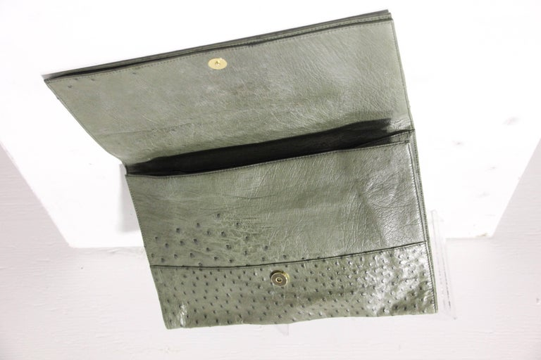 Loewe Moss Green Ostrich Leather Envelope Clutch, 1970s  For Sale 5