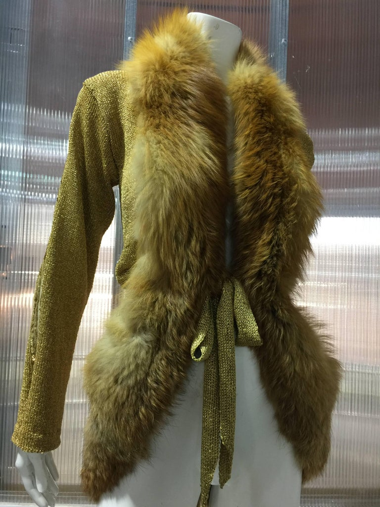 1970s Style Metallic Gold Hand-Knit Cardigan Sweater Trimmed in Red Fox Fur In Excellent Condition For Sale In San Francisco, CA