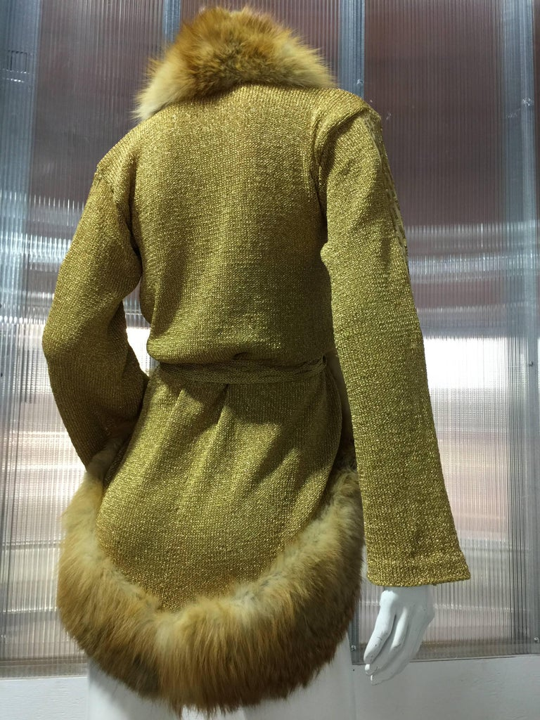 Brown 1970s Style Metallic Gold Hand-Knit Cardigan Sweater Trimmed in Red Fox Fur For Sale