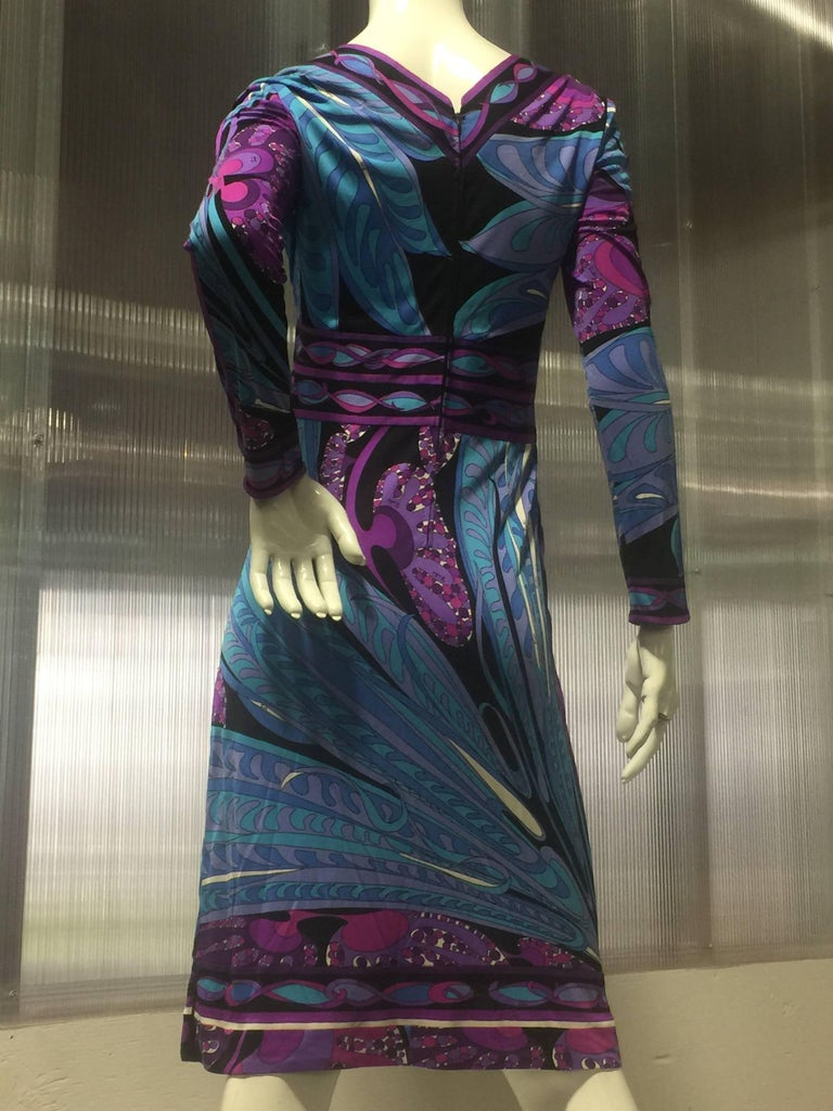 Black 1960s Emilio Pucci Purple Print Silk Jersey Dress W/ Banded Empire Waist and Hem For Sale