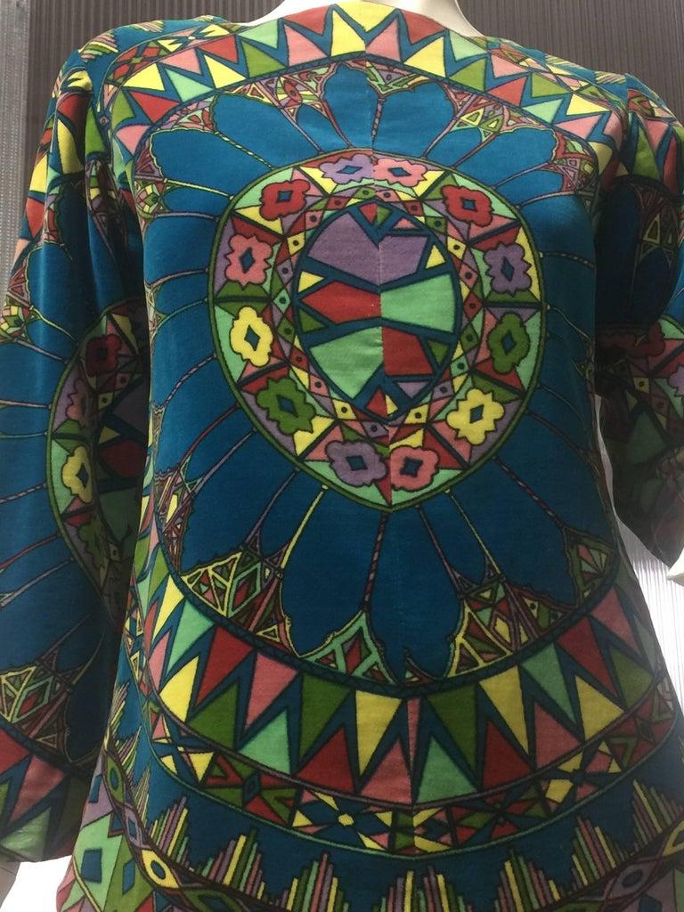 "Black 1963 Emilio Pucci Velvet ""Vetrate"" Motif Print Apres-Ski Vest  For Sale"