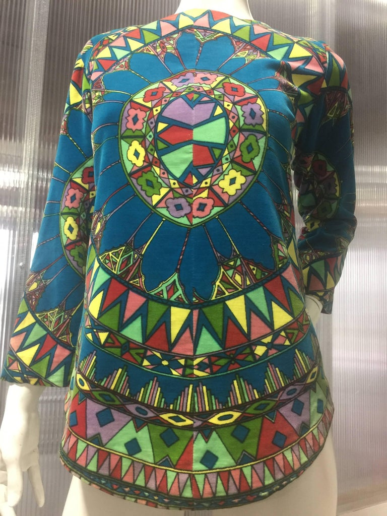 "1963 Emilio Pucci Velvet ""Vetrate"" Motif Print Apres-Ski Vest  In Excellent Condition For Sale In San Francisco, CA"