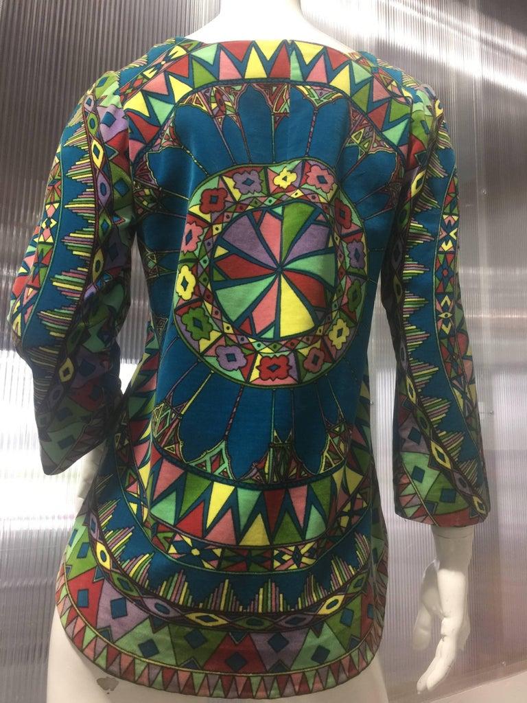 "Women's 1963 Emilio Pucci Velvet ""Vetrate"" Motif Print Apres-Ski Vest  For Sale"
