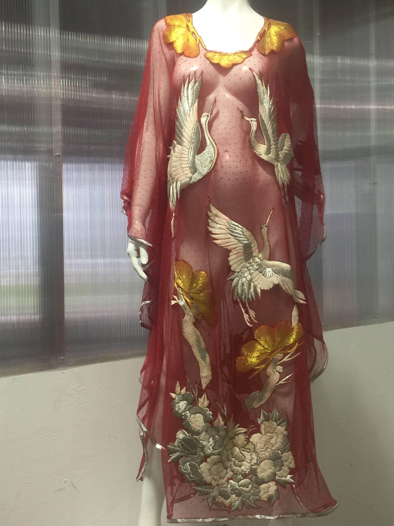 Brown Custom-Made Red Net Pointe D'Esprit Kaftan W/ Silver Embroidered Crane Appliques For Sale