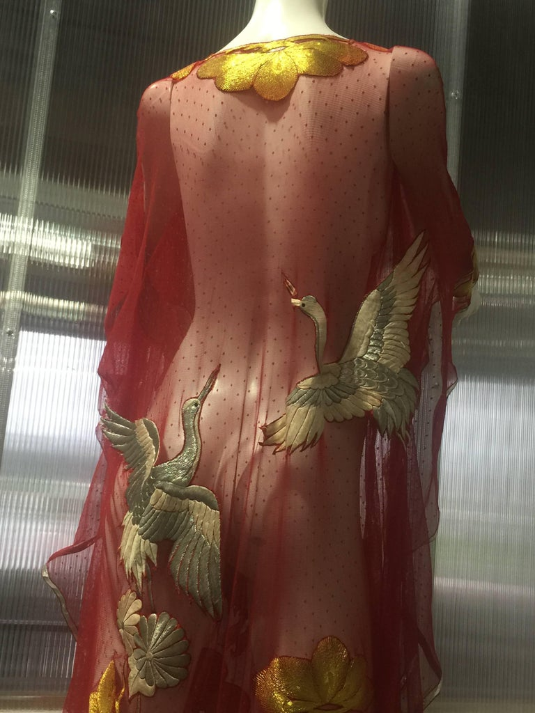 Custom-Made Red Net Pointe D'Esprit Kaftan W/ Silver Embroidered Crane Appliques For Sale 4