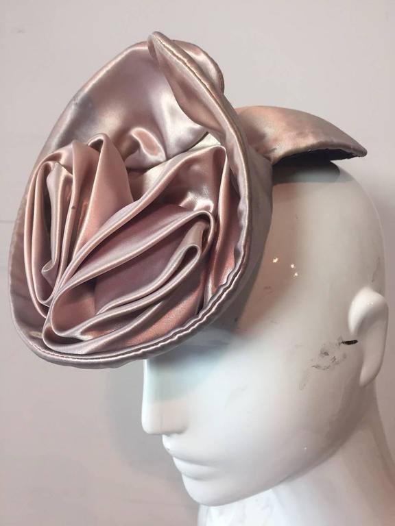 Brown 1940s Champagne Silk Satin Tilt Hat For Sale