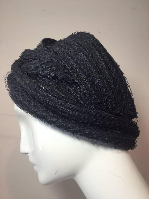 Black 1960s Christian Dior Navy Blue Straw and Tulle Turban For Sale