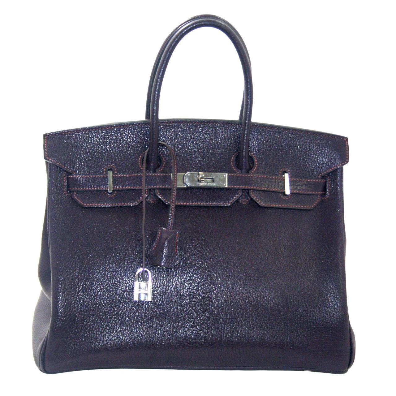 Hermès Raisin Chevre 35cm Birkin with Palladium at 1stdibs