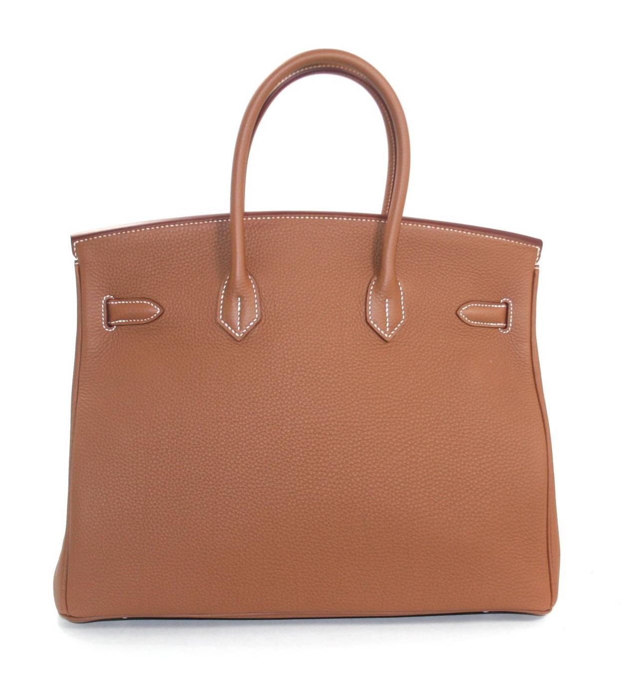 Hermes Birkin Bag in Gold Togo Leather PHW, 35 cm 2