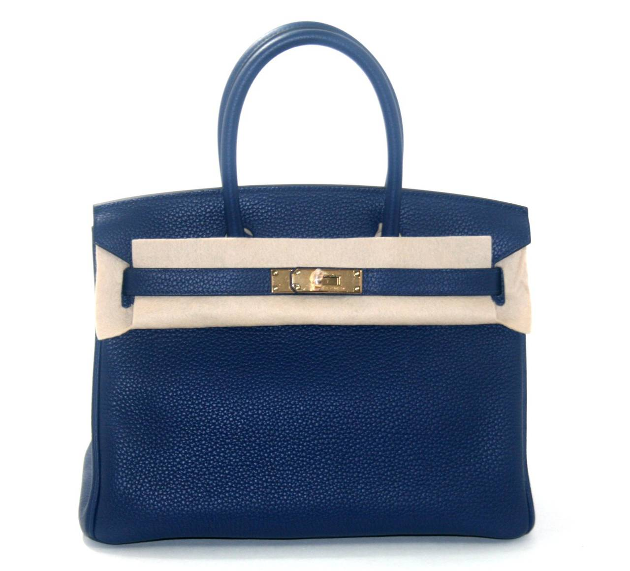 hermes birkin bag 35cm blue sapphire clemence gold hardware