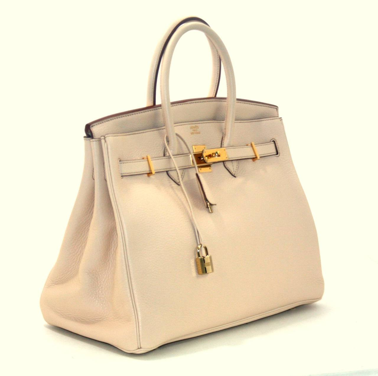 Herm��s Birkin Bag in Beige Clemence with Gold, 35 cm size at 1stdibs