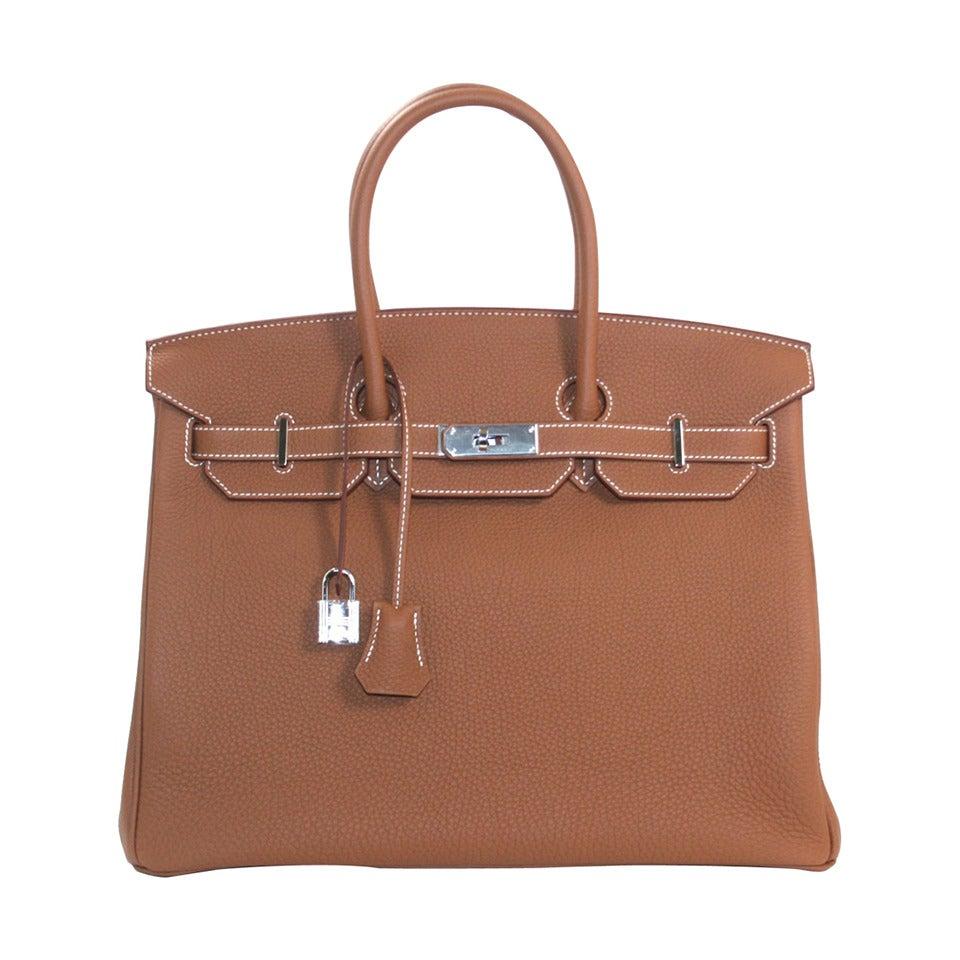 Hermes Birkin Bag in Gold Togo Leather PHW, 35 cm 1