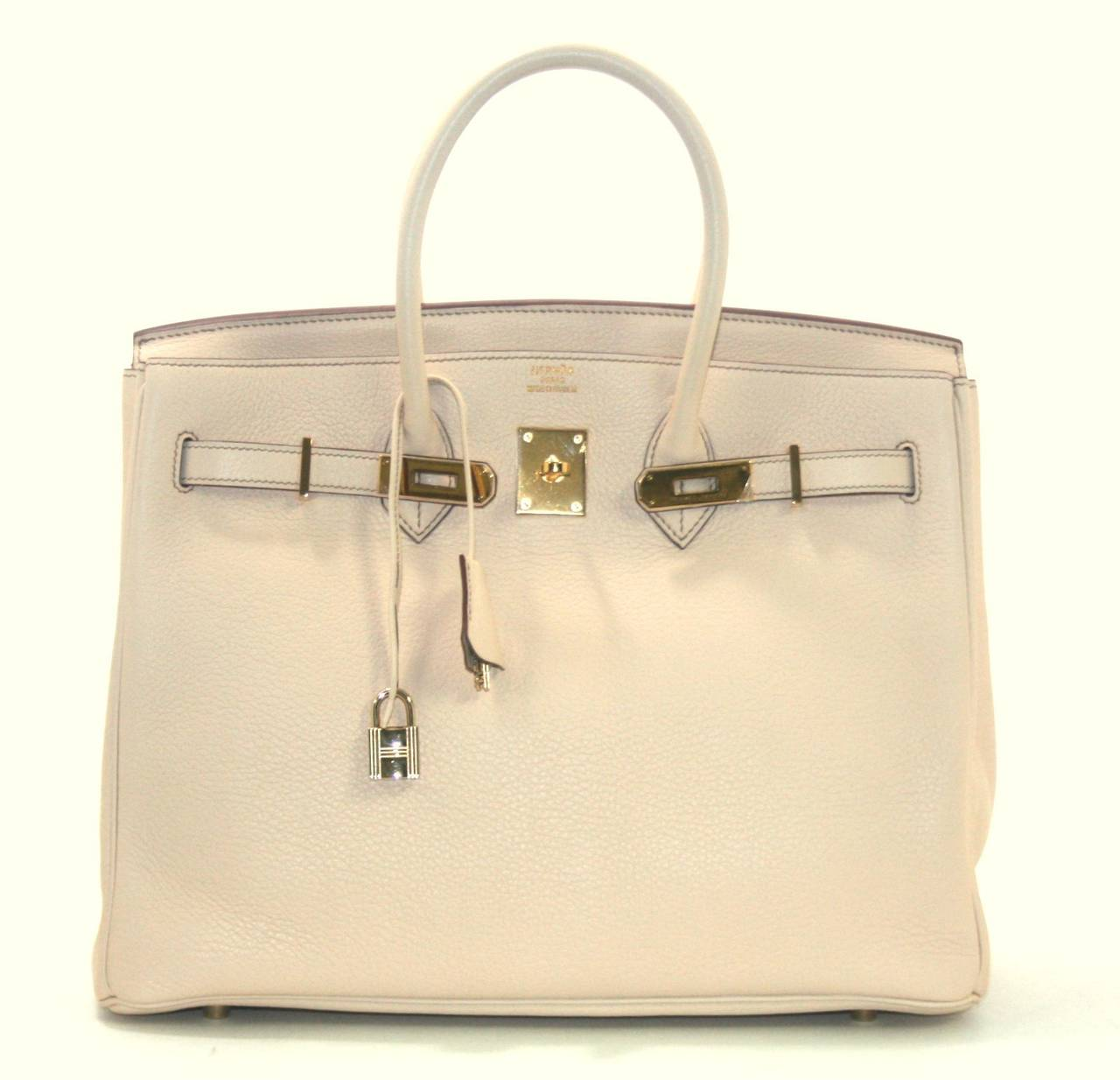 hermes bag kelly - Herm��s Birkin Bag in Beige Clemence with Gold, 35 cm size at 1stdibs