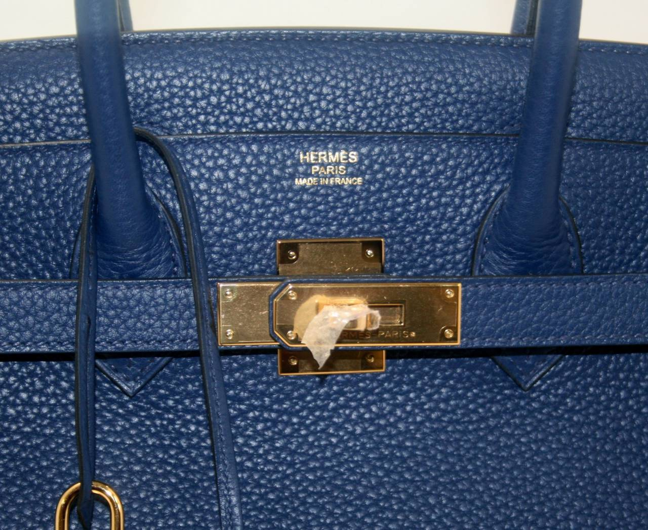 hermes birkin bag 30 blue saphir clemence leather gold hardware