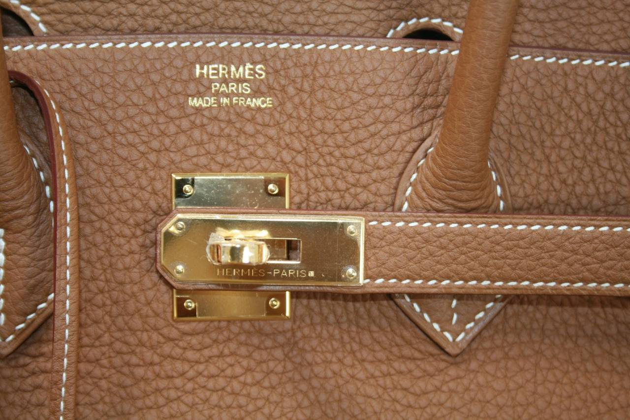 9a28d2121ce Hermes Raisin Clemence Leather 35cm Birkin Bag with Gold Hardware
