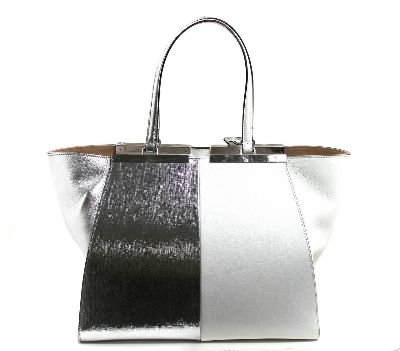 Fendi White and Silver Leather BiColor Trois Jours Tote Bag 2