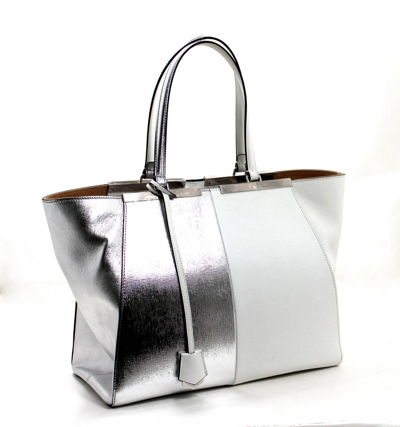 Fendi White and Silver Leather BiColor Trois Jours Tote Bag 3