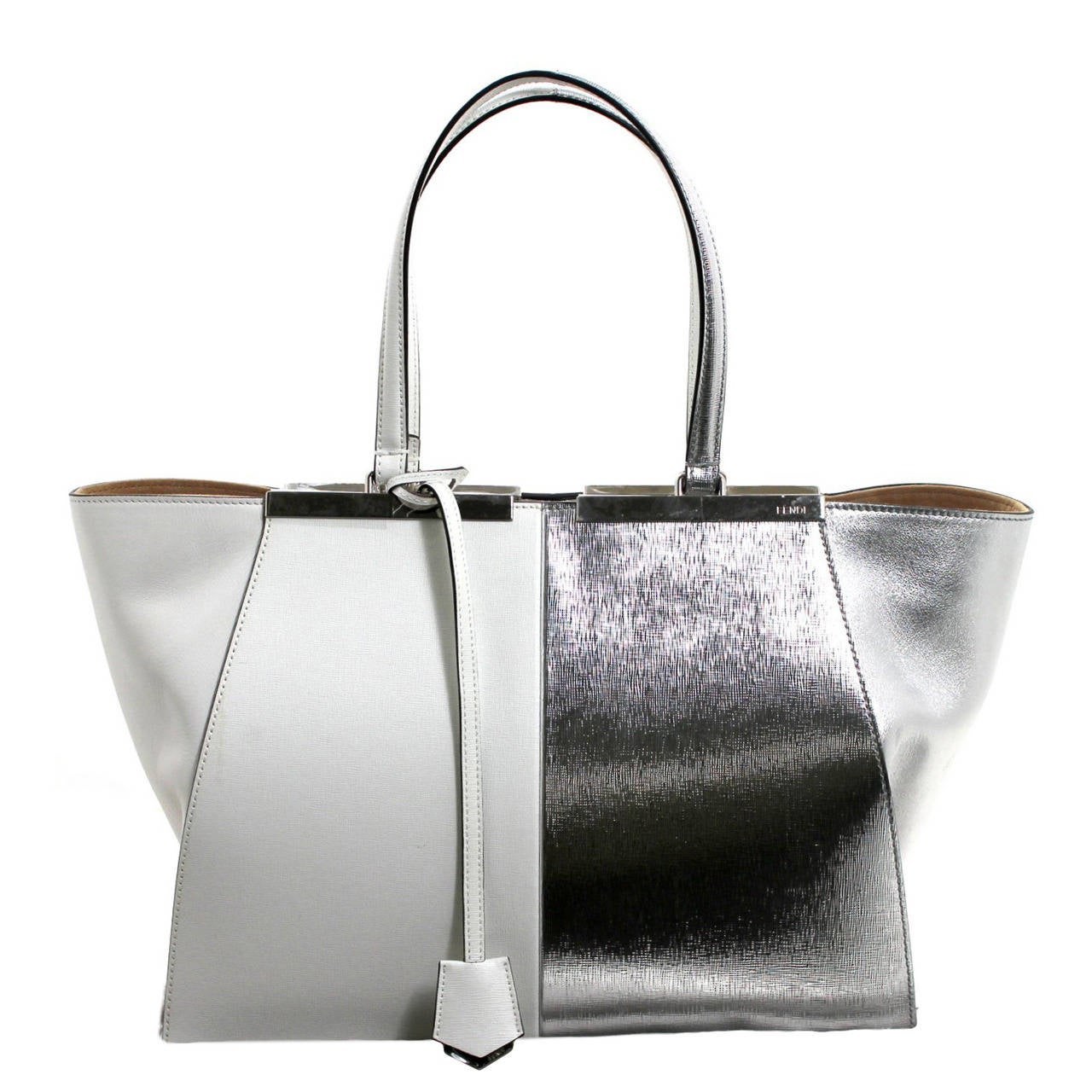 Fendi White and Silver Leather BiColor Trois Jours Tote Bag 1