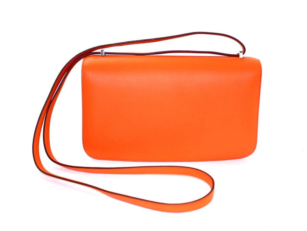 hermes mens wallet - Herm��s Orange Swift Leather Constance Elan CrossBody Shoulder Bag ...
