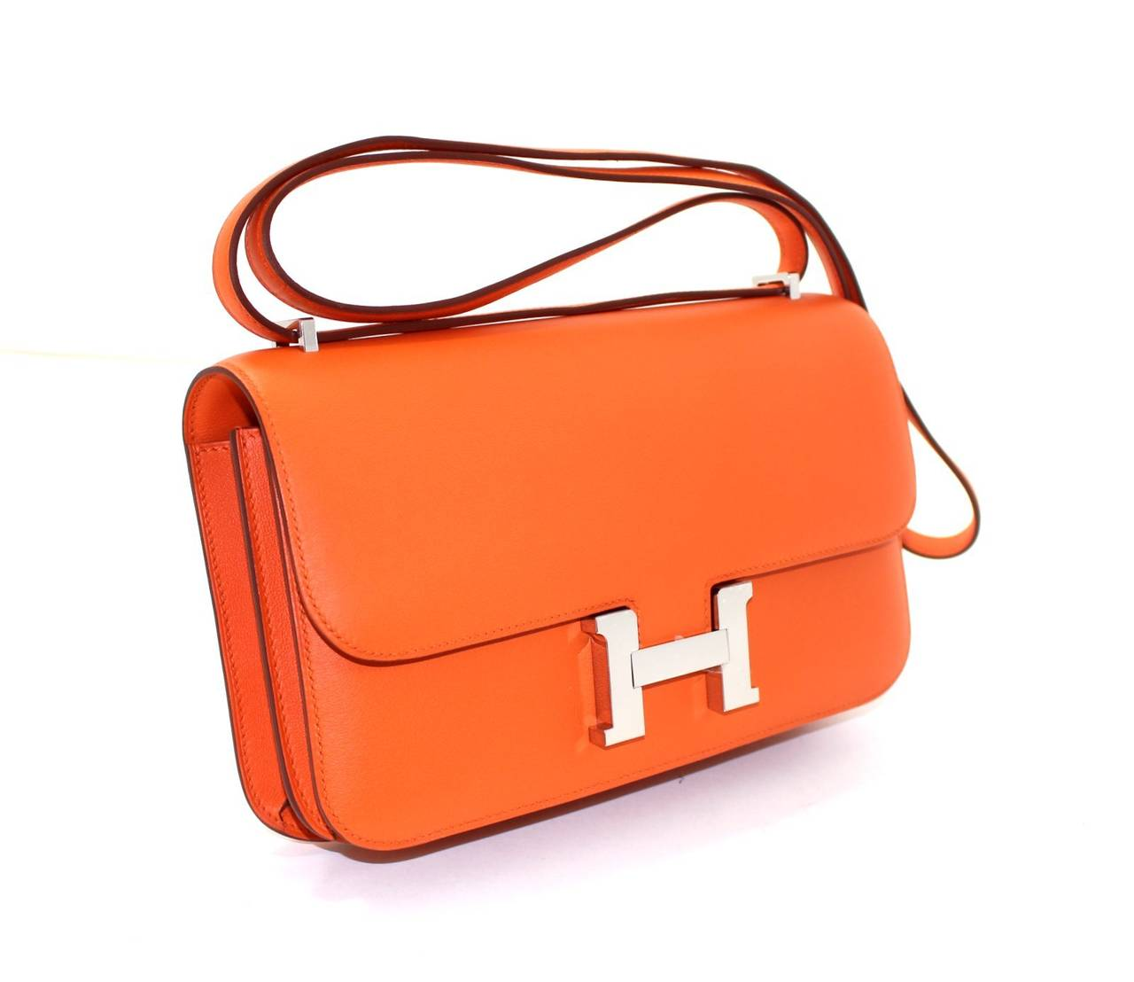 herm s orange swift leather constance elan crossbody shoulder bag at 1stdibs. Black Bedroom Furniture Sets. Home Design Ideas