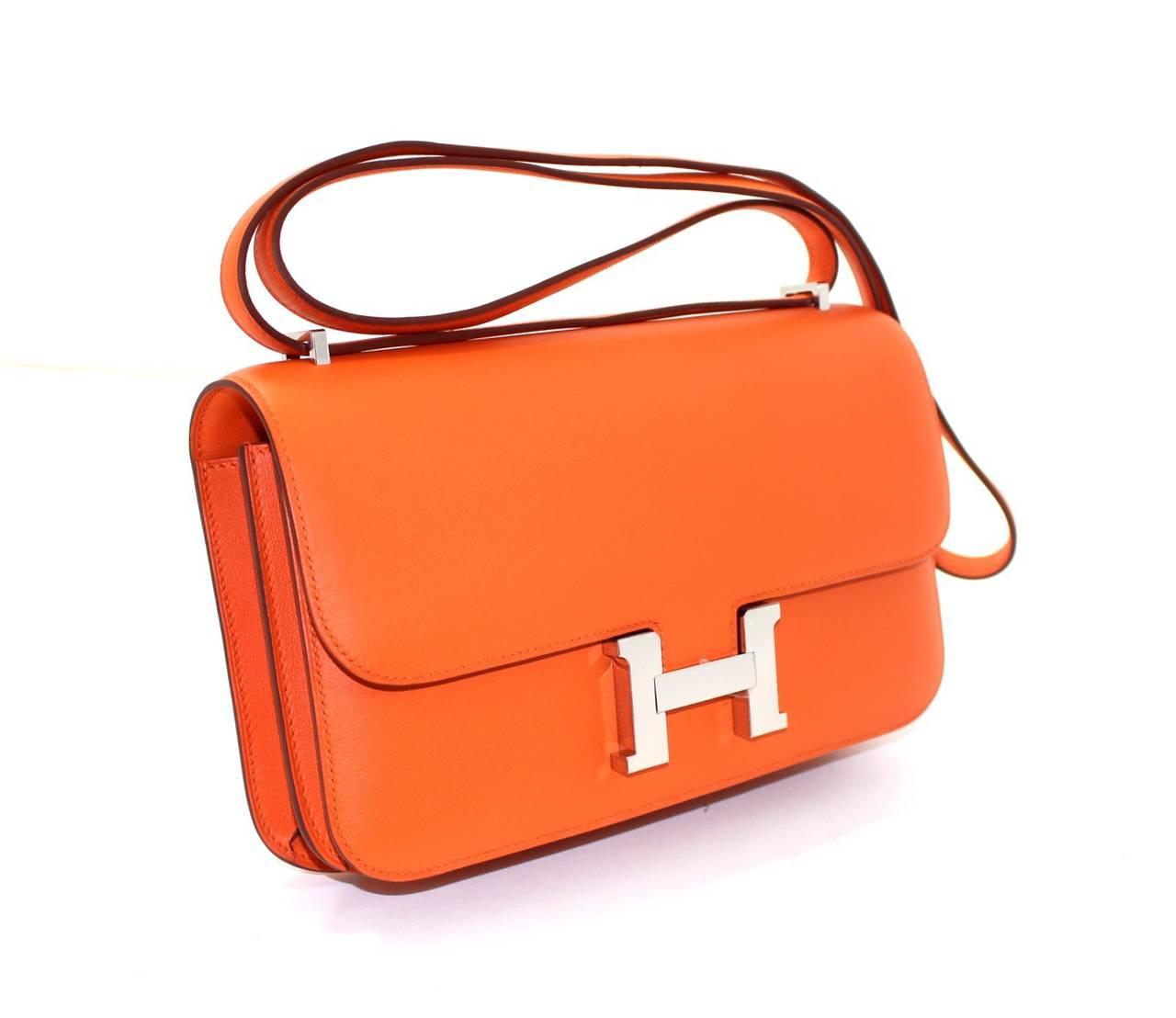 Hermès Orange Swift Leather Constance Elan CrossBody Shoulder Bag at ...